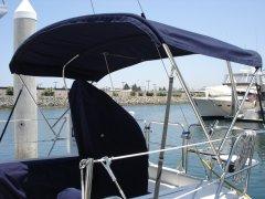 Navy bimini on a Catalina 36 MKII
