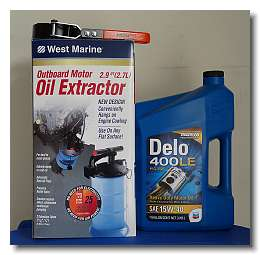 oil extractor, filter wrench and Delo 400 oil